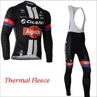 spandex clothing - Giant Alpecin Cycling Jerseys Set Long Sleeve Winter Thermal Fleece Road Bike Clothing With Bib Padded Pants