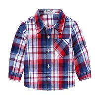 american classics clothing - 2016 Spring fall Boys classic red plaid long sleeve shirt England style American Cotton t shirts for boy Children clothes Tops