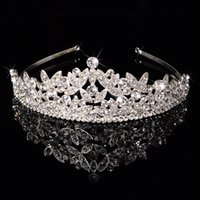 beaded headwear - 2015 New Luxury Sparkling Crystal Beaded Silver Alloy Bridal Crown Tiaras The Queen s Hair Band Headwear Accessories Pageant Crowns
