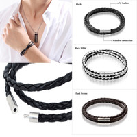 Wholesale 1 HOT Trendy Unisex Womens Mens Leather Interlaced Cuff Bangle Wristband Bracelet AU Lovers Gift