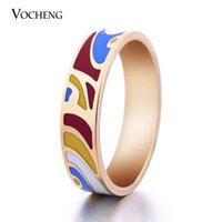 artistic elements - 6mm Wide Stainless Steel K Gold Plated Party Jewelry Artistic Elements Enamel Ring VR Vocheng Jewelry