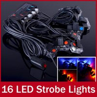 Wholesale One Set of Lamps LED Strobe Lights Blue and Red Flashing Emergency Warning Light with Car DRL Controller Bright Waterproof