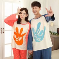 men cotton pajamas set - Women Men Cartoon autumn winter long sleeve pajamas sleepwear couples cotton pajama sets lovers sleep Longe pijama nightclothes home wear