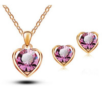 Wholesale 2015 New Arrival K Gold Silver Plated Crystal Heart Shape Fashion Costume Jewelry Sets for Women Necklace Earrings Sets