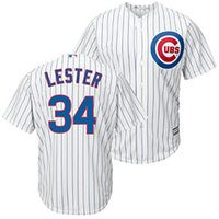 pinstripe baseball jerseys - White with blue pinstripes Cubs Lester Baseball Jersey Men s Cool Base Baseball Wears Authentic Top Quality Baseball Shirt Brand Jersey