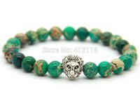 antique african beads - 2015 Hot Sale Mens Jewelry New Design mm Green Sea Sediment Stone Beads Antique Silver Lion Bracelets Party Gift