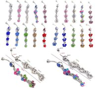 belly button naval - 10Pcs Stainless Steel Crystal Belly Button Ring Belly Naval Piercing Body Jewelry Crystal Flower Butterfly Naval Jewelry