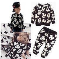 baby sweatsuit - 2016 New Baby Boy Girls Mickey Mouse Sweatsuit Tops Pants Leggings Outfits Set
