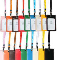 apple bus - solid colors pu long Lanyard in Neck ID with clasp Badge Holder entrance guard badge bus card bank card lanyard