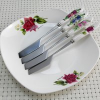 stainless steel cake knife - Ceramic Handle Cake Knife cm HIGH QUALITY Butter Cheese Knife Stainless Steel Dessert Knives