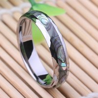 abalone inlay - Comfort fit abalone shell inlay tungsten ring wedding ring