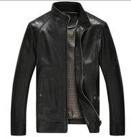 Wholesale 2015 Spring New Men s Coat Locomotive Leather Jacket Thickening Fur Outerwear Slim Winter Leather garments Jacket Brown Black M XL