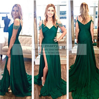 Cheap Peacock Green Mermaid Prom Dresses 2016 Sexy High Split Slim Eveming Dresses Long Chiffon Sequins Beaded Plus Size Arabic Formal Party Gowns