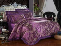 Wholesale Factory Direct Sale High Quality Wedding Gift Gold Purple Jacquard Silk Cotton Bedding King Queen size Bedding Bag Pillowcase Home Textile