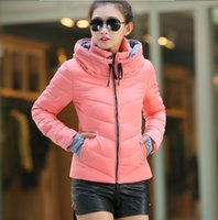 Wholesale Winter coat women down new winter parka women short slim thickening warm double layer collar cotton padded jacket red