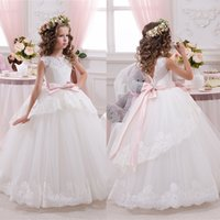 Wholesale Elegant Lace Ball Gown Little Bridal Flower Girl s Dresses For Wedding Party Princess Ruffle Bow Floor Length Tulle Pageant Dresses