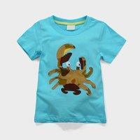 Cheap 2015 New Summer Boy T-shirts Camouflage Crab Blue Cartoon Short Sleeve T-shirts 1-6Y 5701