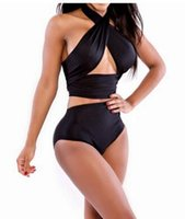 Wholesale High Quality Women High Waisted Bathing Suits Slim Black Push Up Chest Wrapped Halter Bikini