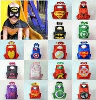 Wholesale kid cosplay superhero cape with matched mask superman spiderman batman flash Captain America ironman wonderwoman thor spidergirl robin hulk