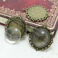 antique filigree settings - set antique bronzer filigree cameo cabochon mm Fit mm Diy base setting pendant tray clear glass cabochons D0355