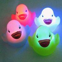 Cheap 12pcs lot New Arrival Colorful Baby Bath Bathing LED Flashing Duck Flashing Funny Bath Rubber DuFree shippingck Toy Light Lamp