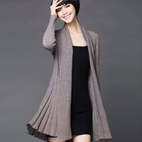 Wholesale Long Fit Sweater Womens Open Stitch Solid Simple All match Temperament Open Stitch Cardigan Ladies knitwear KTB08