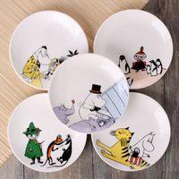 Wholesale Cute Cartoon Moomin Mummi Character Bone China Round Dishes Home Use Plates
