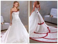 Wholesale Wedding Dresses Strapless Embroidery Red And White Bridal Wedding Gowns Long Plus Size Designer Sweetheart A Line Bridal Dress Hot