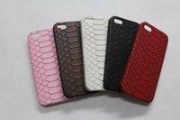 Para Iphone 5 5G 5S 6 6G 4.7 Plus 5.5 Moda Chapa encolado de piel de serpiente Escala grano plástico duro caso de la contraportada 300pcs Piel