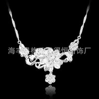 Cheap European and American models selling 925 sterling silver plated flower necklace jewelry wholesale wholesale Korea 2014925 Silver Pendant
