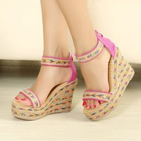 Wholesale 2015 New Nation Gladiato Women Sandals High Heel cm Fish Head High Wedge sandals Colored Woven Hemp Rope