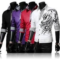 Wholesale 2015 Hot Sale Men Casual Silm Fit Long Sleeve Dragon Printed Shirt Men Totem Tattoo Long Sleeve Shirt Men Cotton Blend Tops