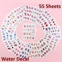 flower nail - 55 Sheets x Gold Glitter Nail Art Decals Stickers Water Transfer Wraps Butterfly Flowers