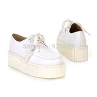 Wholesale Promotion Summer Autumn Women Lady Casual Lace Up High Platform Flat Goth Punk Creeper Shoes Size