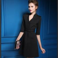 Wholesale 2015 New Autumn Fashion Women Clothing Office Elegant Casual V Neck Belt Shift Dress Half Sleeve Party Mini striped Dress