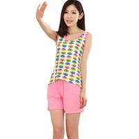 Wholesale 2015 Best Selling New Cute Cartoon Summer Sleepwear Lady Casual Female Wear Suits Pajamas Exotic Apparel Babydolls Chemises