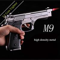 pistols - Metal Windproof Lighter M9 model Pistol Gun Shaped Refillable Butane Gas Flame Jet Smoking Cigarette Lighters