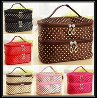 Wholesale 2016 NEW Double layer small dots cosmetic bag makeup tool storage bag multifunctional Storage package