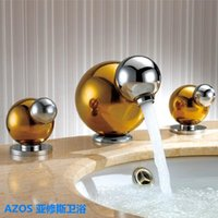 Deck Mounted bathroom faucets widespread chrome - AZOS Ball Spout Golden Gold Chrome Silver Finished Widespread Holes Deck Mounted Hot Cold Water Mixer Sink Tap Bathroom Basin Faucets