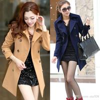 Wholesale 4067 Women s OL Double breasted Warm Slim Jacket Wool Coats Elegant Lapel Outwear Camel Navy Blue