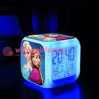 Wholesale 7 Color Change LED Retail And New Frozen Digital Alarm Clock Frozen Anna and Elsa Thermometer Night Colorful Glowing Clock bo6972