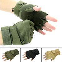 Wholesale Motorbike Racing Gloves Motorcycle Men New Racing Bike Bicycle Cycling Fingerless Gloves Black Army Green Brown DH04