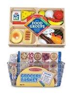 melissa and doug - 3 Item Bundle Melissa Doug Grocery Basket with Play Food and Food Gr