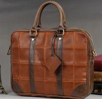 Wholesale 2014 laptop bag retro fashion casual men bag large lattice quality PU Messenger laptop bag