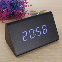 Wholesale Lowest Price High Quality Black Wood Triangular Blue LED Alarm Digital Desk Clock Wooden Thermometer order lt no track