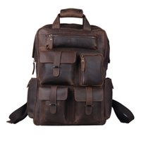 Wholesale Men s Real Leather quot Backpack Laptop Bag Large Hiking Travel Camping Carry On