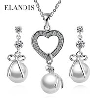 pearl alloy earrings - ELANDIS Brand Fashion Zine Alloy Pearl Stud Earrings and Heart Great Pearl Pendent Necklaces New Jewelry Set Two piece BS00298