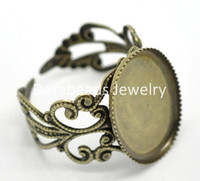 antique onyx rings - Fashion Jewelry Rings hot Antique Bronze Flower Adjustable Oval Cabochon Setting Rings mm US Fit x13mm B15779