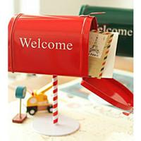 Wholesale Zakka British Style Fashion Vintage Retro Mailbox pc canducum pillar box Cover Iron Storage Letter Box