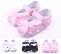Wholesale Dot bow princess toddler shoes lace children shoes soft infant floor shoes multicolor girls leather shoes pairs ZH
